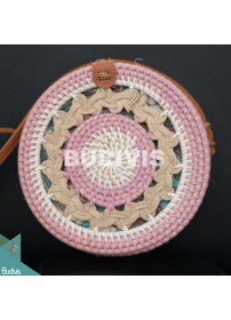 White And Pink Rattan Bag With Hand Woven At The Top