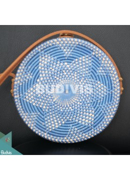 Hand Woven Blue Rattan Bag With Flower Pattern