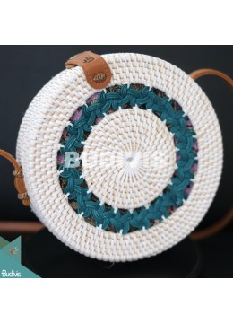 White Rattan Bag With Blue Hand Woven