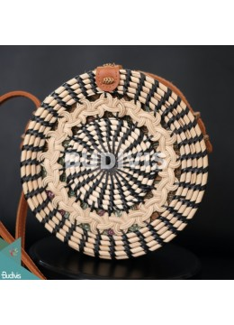 Black Stripe Natural Round Rattan Bag With Hand Woven At The Top