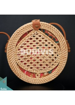 Natural Round Rattan Bag With Leaf Shape Woven