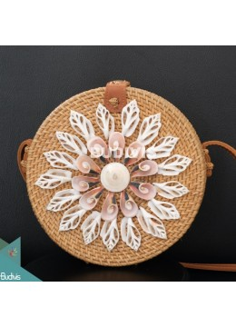 Natural Round Rattan Bag With Shell Ornament