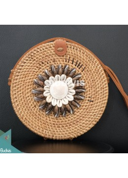Natural Round Rattan Bag With Black Shell Ornament