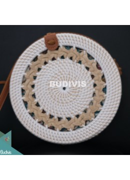 White Rattan Bag With Crème Hand Woven At Top