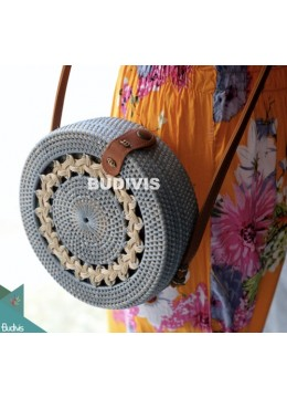 Gray Rattan Bag With Crème Hand Woven
