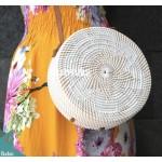 White Rattan Bag White Sun Flower Pattern