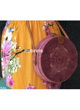 Purple Rattan Bag White Flower Pattern