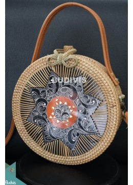Hand Bag And Cross Body Rattan Round Bag With Batik Ornament