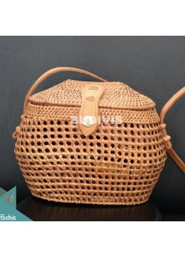 Cross Body Bucket Rattan Bag