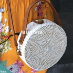 White Color Hand Bag And Cross Body Rattan Round Bag