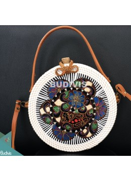 White Color Hand Bag And Cross Body Rattan Round Bag With Batik Ornament