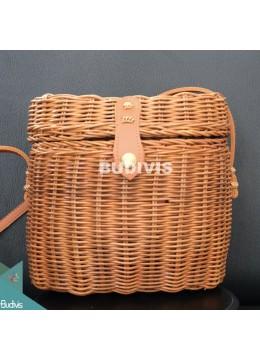 Rattan Bag, Round Straw Bag, Vegan Crossbody Bag, Basket Bag