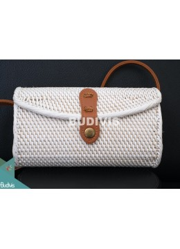 White Mini Envelope Rattan Bag ,Straw Bag ,Handwoven Shoulder Bag
