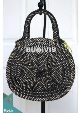 Black Rattan Handwoven Hand Bag