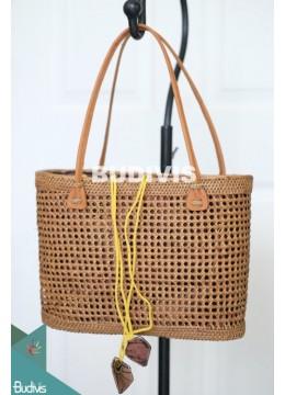 Handmade Woven Ata Grass Rattan Purse, Basket