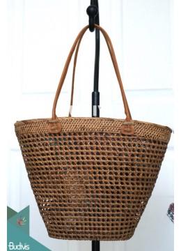 Cone Handmade Woven Ata Grass Rattan Purse, Basket