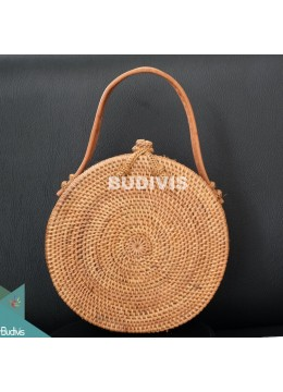 Classic Natural Rattan Round Hand Bag
