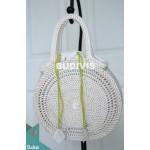 White Color Rattan Handwoven Hand Bag