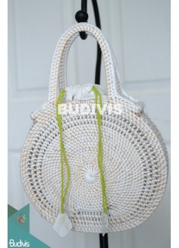 White Color Rattan Handwoven Hand Bag