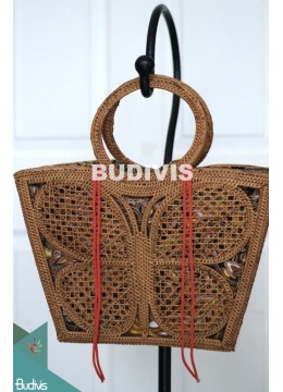 Butterfly Rattan Bag, Round Bag, Straw Bag, Bamboo Bag, Handmade from Bali