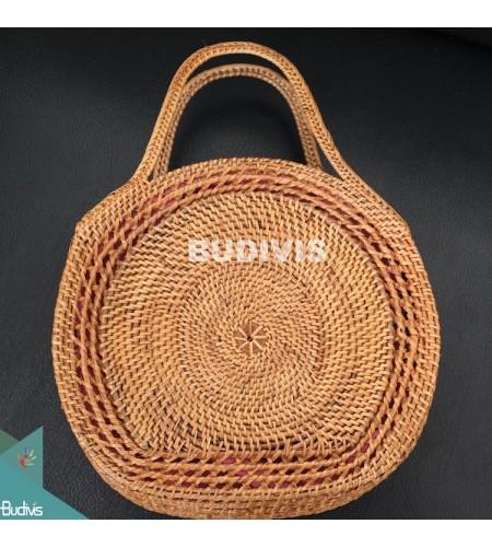 100% Hand made Classic Natural Rattan Round Hand Bag