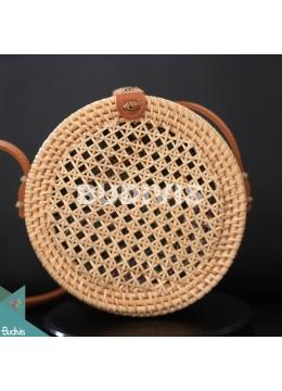 Round Brown Woven Net Bali Rattan Bag