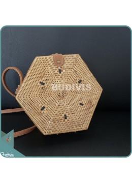 Natural Handwoven Hexagon Rattan Bag