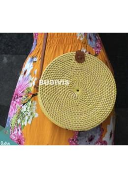 Round Yellow Plain Bali Rattan Bag