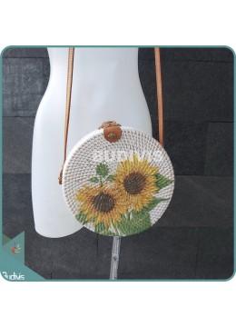Sunflower Hand Painted Rattan Round Bag