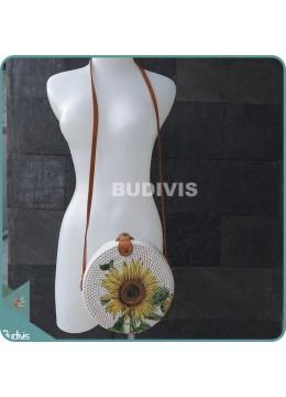 Single Sunflower Hand Painted Rattan Round Bag