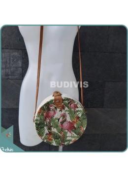 Flamingo Pattern Painted Bali Rattan Bag