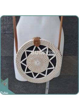White Star Pattern Bali Rattan Bag