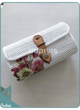Rosa Multiflora Flower Hand Painted Mini Rattan Sling Bag