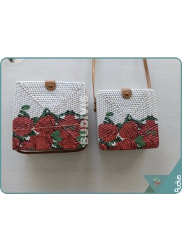 Hand Painted Red Roses Rattan Square Sling Bag