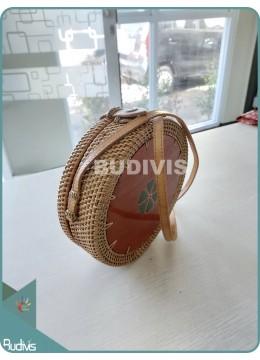 Bali Rattan Bag With Circle Wood On Top