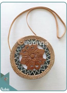 Carved Round Bali Rattan Bag - Handwoven Shoulder Bag