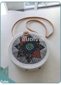 Handwoven Floral Flower Painting Cukli Bali Rattan Bag With Batik Pattern