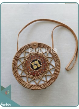 Star Patten Round Rattan Bag With Painted Wood