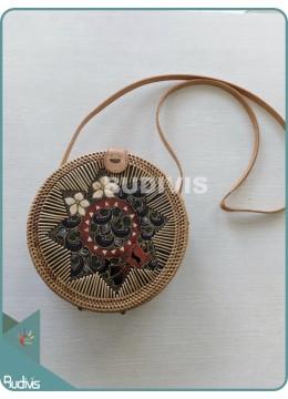 Hanwoven Bali Rattan Bag With Batik Pattern