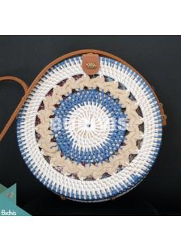 Round Blue And White Braided Bali Rattan Bag