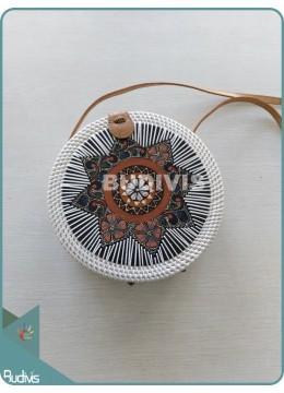 Batik Painted Star Pattern Round Rattan Bag