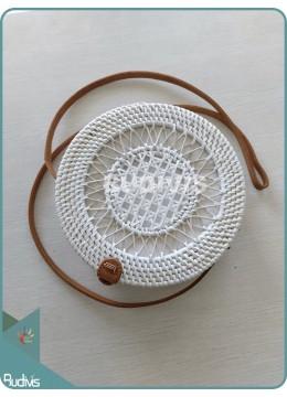 Sunflower Hand-Woven Pattern Round Rattan Bag