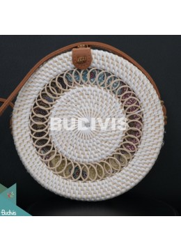 White Rattan Bag With Springs Pattern