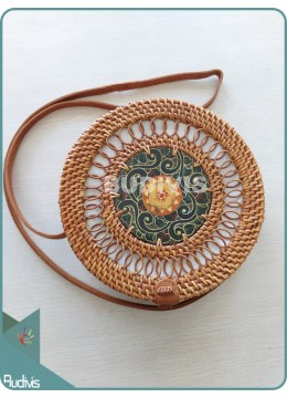 Painted Rattan Bag With Spring Pattern