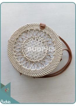 Cream Sunflower Hand-Woven Pattern Round Rattan Bag