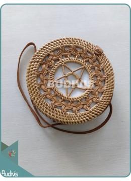 Braided Brown Naural  Rattan Bag With Star Pattern