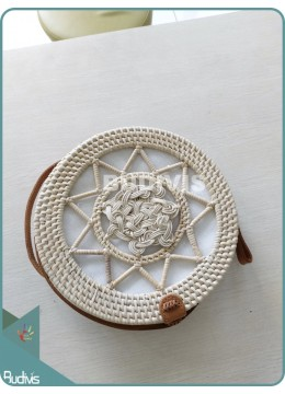 Star And Brided White Round Rattan Bag