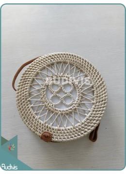 Star And Circle Pattern Bali Rattan Bag