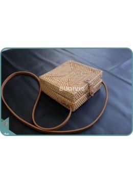 Natural Squere Plain Rattan Sling Bag