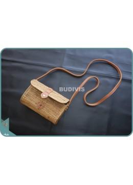 Solid Ata Natural Brown Wallet Sling Bag